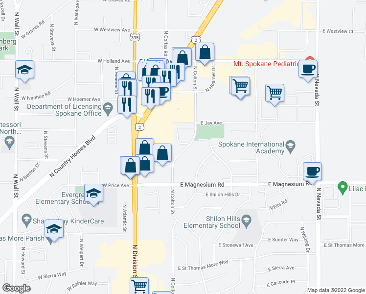 map of restaurants, bars, coffee shops, grocery stores, and more near 9000-9024 North Colton Street in Spokane
