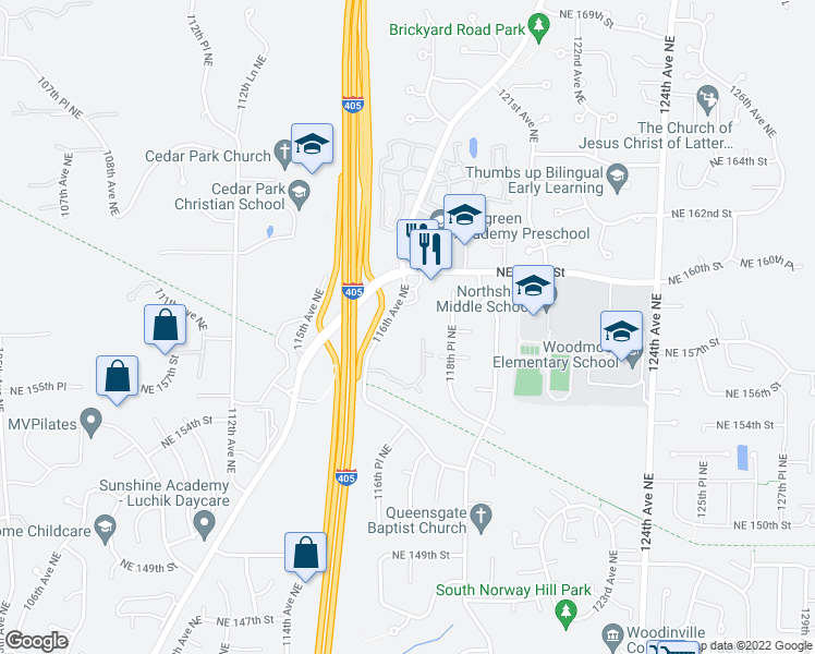 map of restaurants, bars, coffee shops, grocery stores, and more near 15730 116th Avenue Northeast in Bothell
