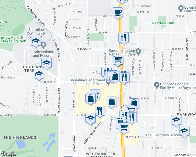 map of restaurants, bars, coffee shops, grocery stores, and more near 710 North 160th Street in Shoreline
