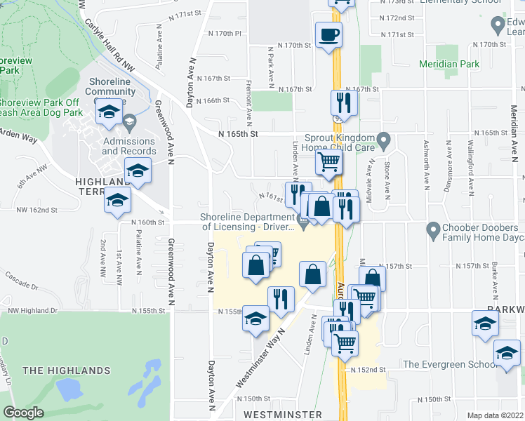map of restaurants, bars, coffee shops, grocery stores, and more near 16001 Fremont Place North in Shoreline