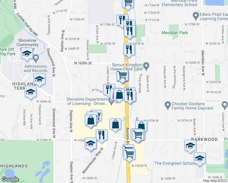 map of restaurants, bars, coffee shops, grocery stores, and more near 16100 Linden Avenue North in Shoreline