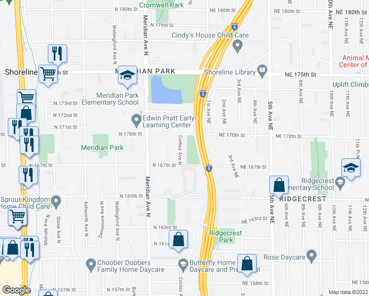 map of restaurants, bars, coffee shops, grocery stores, and more near 16734 Corliss Avenue North in Shoreline