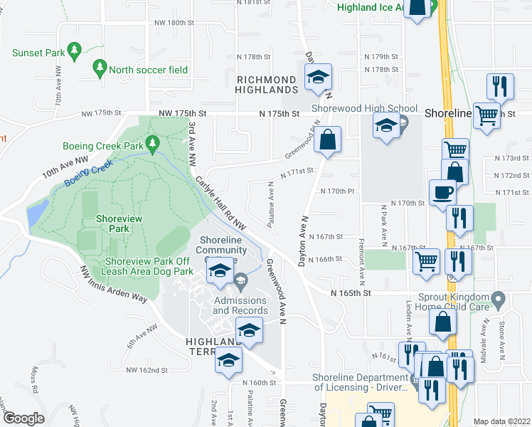 map of restaurants, bars, coffee shops, grocery stores, and more near 16819 Palatine Avenue North in Shoreline