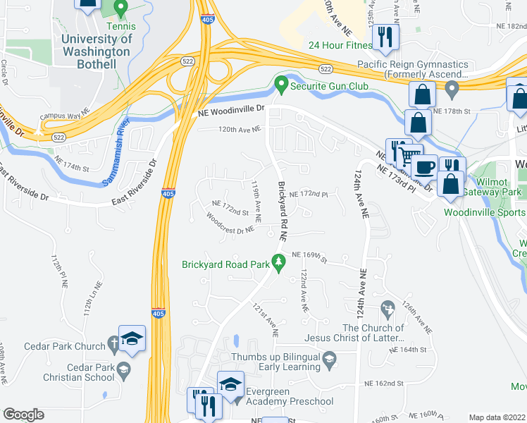 map of restaurants, bars, coffee shops, grocery stores, and more near 17200 119th Avenue Northeast in Bothell