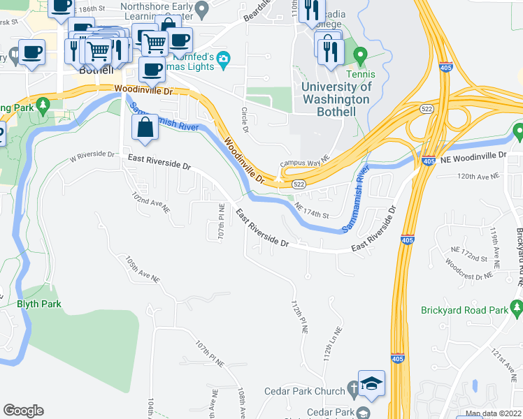 map of restaurants, bars, coffee shops, grocery stores, and more near 10822 East Riverside Drive in Bothell