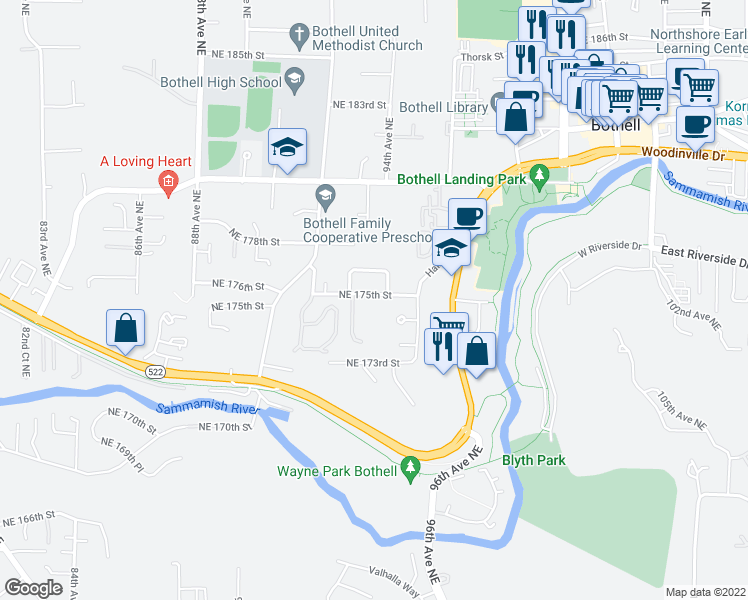 map of restaurants, bars, coffee shops, grocery stores, and more near 9321 Northeast 175th Street in Bothell
