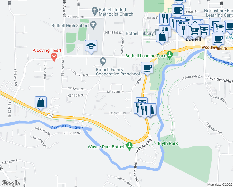 map of restaurants, bars, coffee shops, grocery stores, and more near 9319 Northeast 175th Street in Bothell