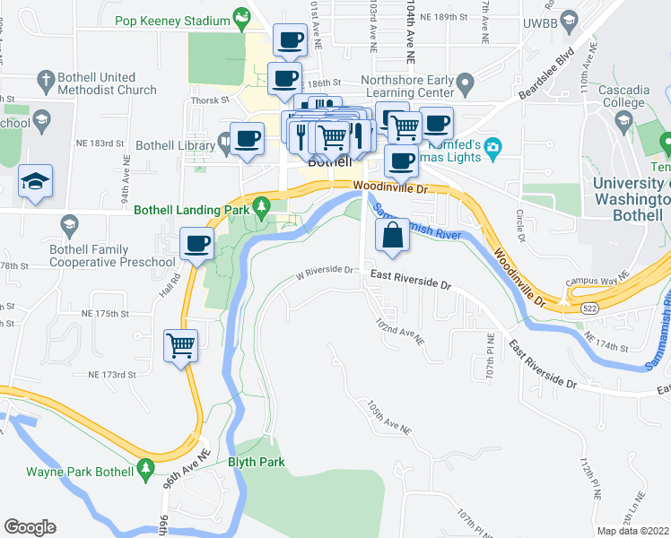 map of restaurants, bars, coffee shops, grocery stores, and more near 10130 West Riverside Drive in Bothell