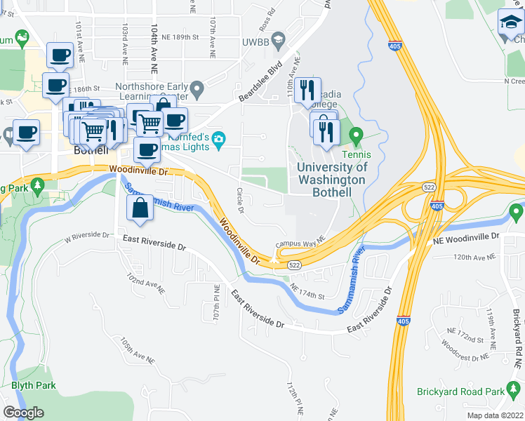 map of restaurants, bars, coffee shops, grocery stores, and more near 10909 Valley View Road in Bothell