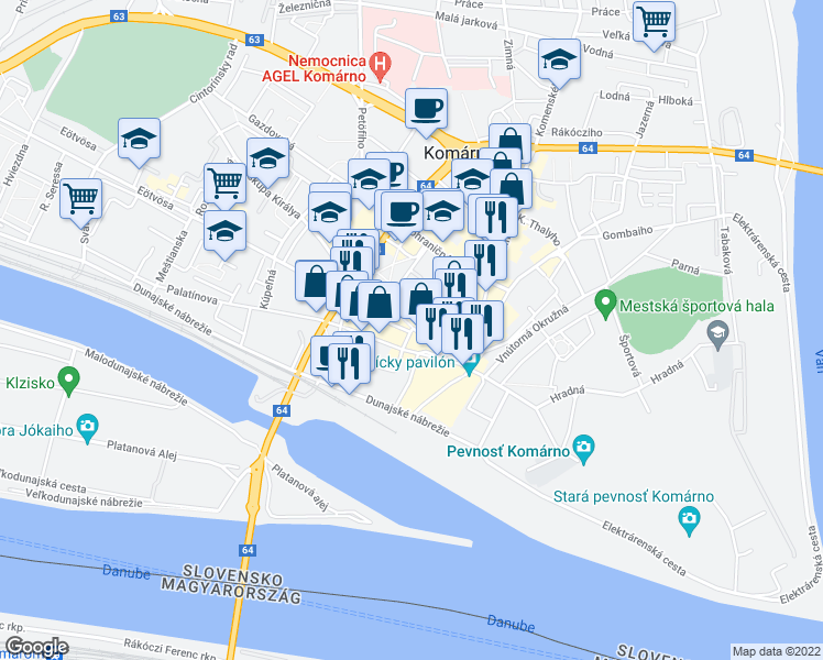 map of restaurants, bars, coffee shops, grocery stores, and more near in Komárno