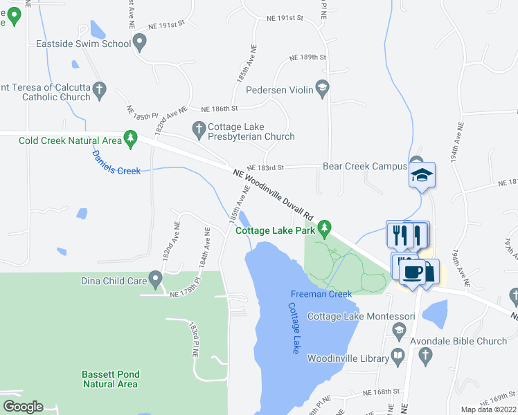 map of restaurants, bars, coffee shops, grocery stores, and more near 18603 Northeast Woodinville Duvall Road in Woodinville