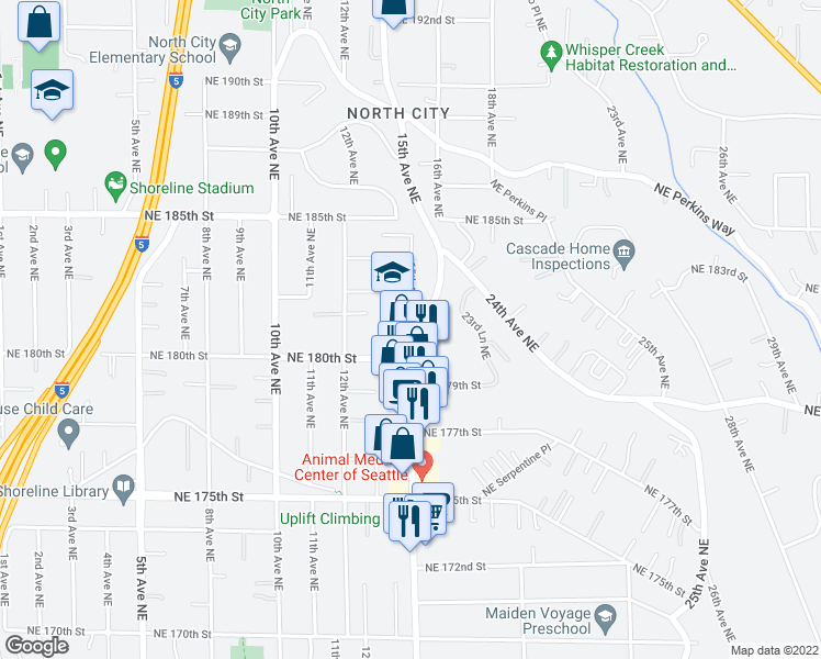 map of restaurants, bars, coffee shops, grocery stores, and more near 18018 15th Avenue Northeast in Shoreline