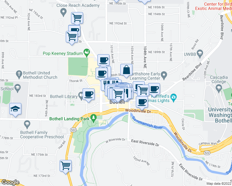 map of restaurants, bars, coffee shops, grocery stores, and more near in Bothell