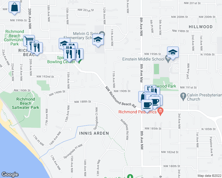 map of restaurants, bars, coffee shops, grocery stores, and more near 19005 11th Avenue Northwest in Seattle