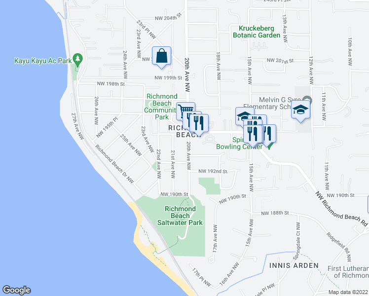 map of restaurants, bars, coffee shops, grocery stores, and more near 19304 21st Avenue Northwest in Shoreline