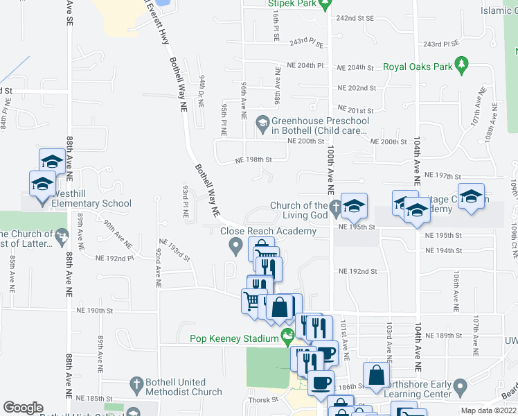 map of restaurants, bars, coffee shops, grocery stores, and more near 9610 Northeast 195th Circle in Bothell