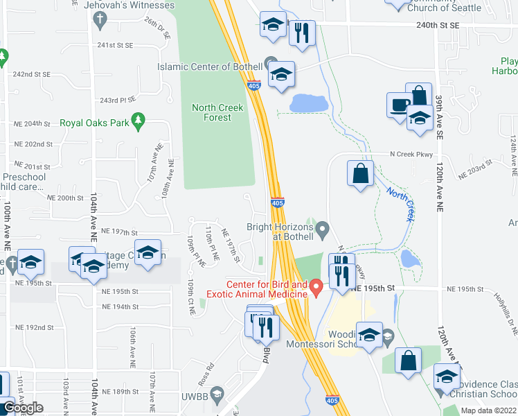 map of restaurants, bars, coffee shops, grocery stores, and more near 19701 112th Avenue Northeast in Bothell