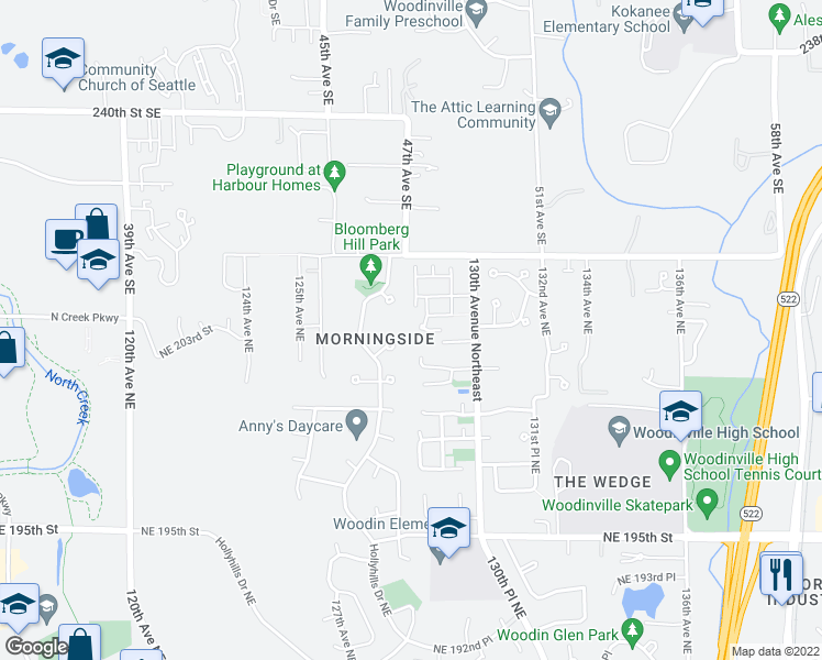 map of restaurants, bars, coffee shops, grocery stores, and more near 12904 NE 203rd Ct in Woodinville