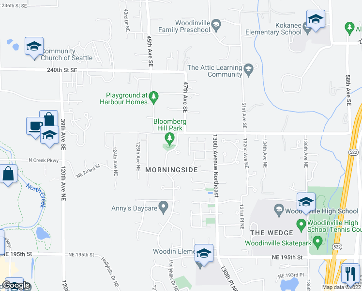map of restaurants, bars, coffee shops, grocery stores, and more near 20310 Hollyhills Drive Northeast in Bothell