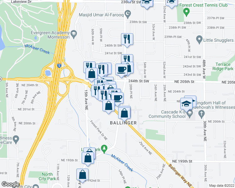 map of restaurants, bars, coffee shops, grocery stores, and more near 20301 19th Avenue Northeast in Shoreline