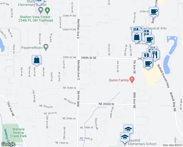 map of restaurants, bars, coffee shops, grocery stores, and more near 1st Avenue Southeast in Bothell