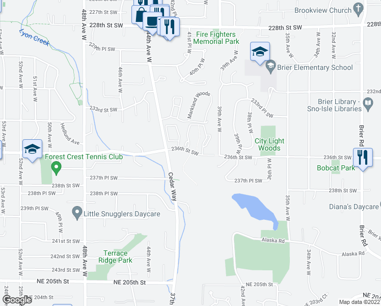 map of restaurants, bars, coffee shops, grocery stores, and more near 4208 236th Street Southwest in Mountlake Terrace