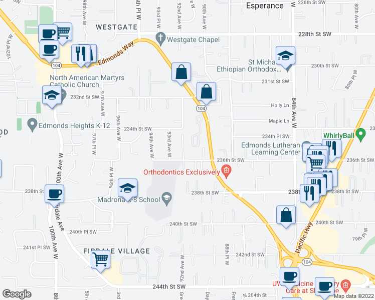 map of restaurants, bars, coffee shops, grocery stores, and more near 23515 92nd Avenue West in Edmonds