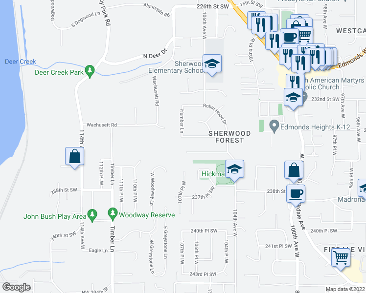 map of restaurants, bars, coffee shops, grocery stores, and more near 10723 235th Place Southwest in Edmonds