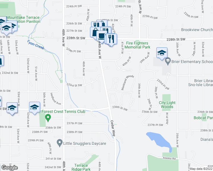 map of restaurants, bars, coffee shops, grocery stores, and more near 23333 Cedar Way in Mountlake Terrace