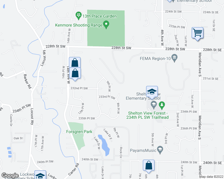 map of restaurants, bars, coffee shops, grocery stores, and more near 23215 9th Place West in Bothell