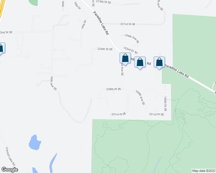 map of restaurants, bars, coffee shops, grocery stores, and more near 10017 228th Place Southeast in Woodinville