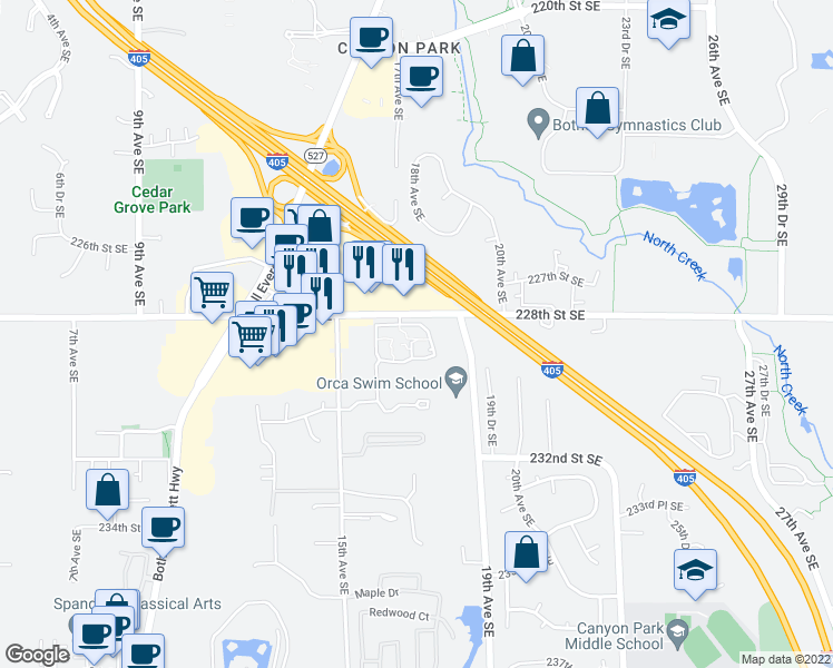 map of restaurants, bars, coffee shops, grocery stores, and more near 1630 228th Street Southeast in Bothell