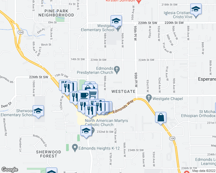 map of restaurants, bars, coffee shops, grocery stores, and more near 22701 98th Avenue West in Edmonds