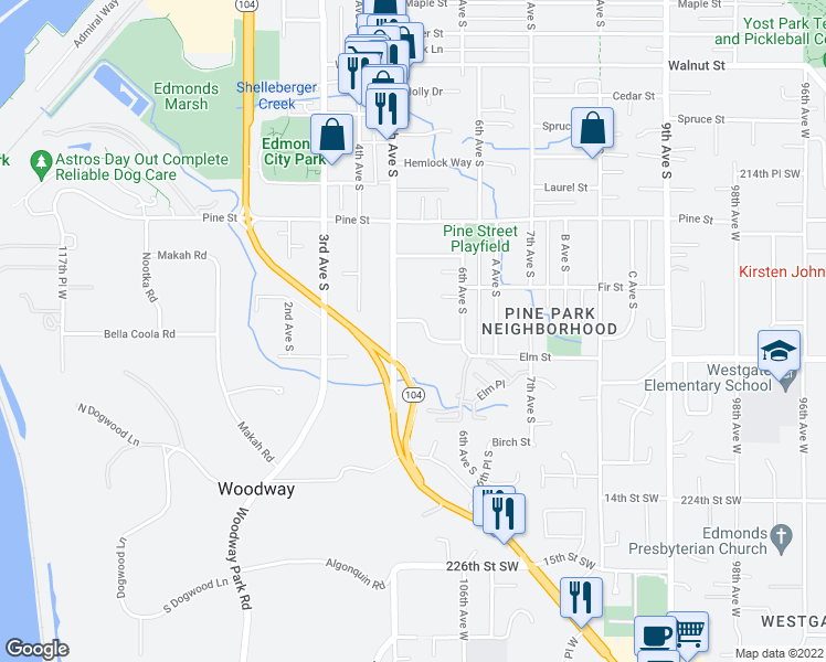 map of restaurants, bars, coffee shops, grocery stores, and more near 500 Elm Way in Edmonds