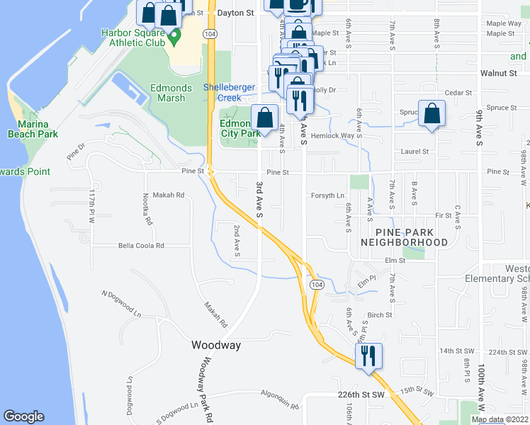 map of restaurants, bars, coffee shops, grocery stores, and more near 1053 3rd Avenue South in Edmonds