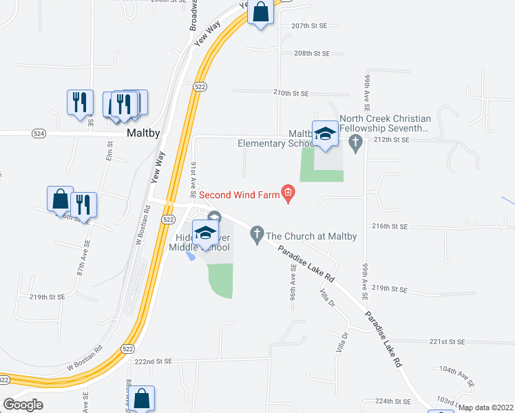 map of restaurants, bars, coffee shops, grocery stores, and more near 9321 Paradise Lake Road in Snohomish