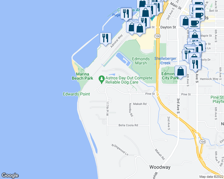 map of restaurants, bars, coffee shops, grocery stores, and more near 50 Pine Street in Edmonds