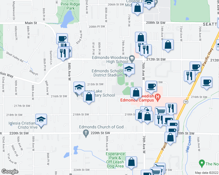 map of restaurants, bars, coffee shops, grocery stores, and more near 21503 80th Avenue West in Edmonds
