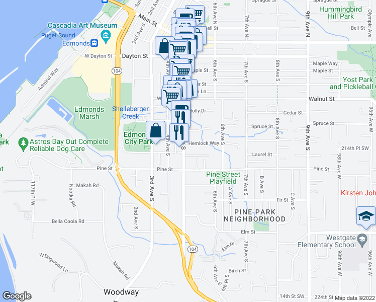 map of restaurants, bars, coffee shops, grocery stores, and more near 631 5th Avenue South in Edmonds