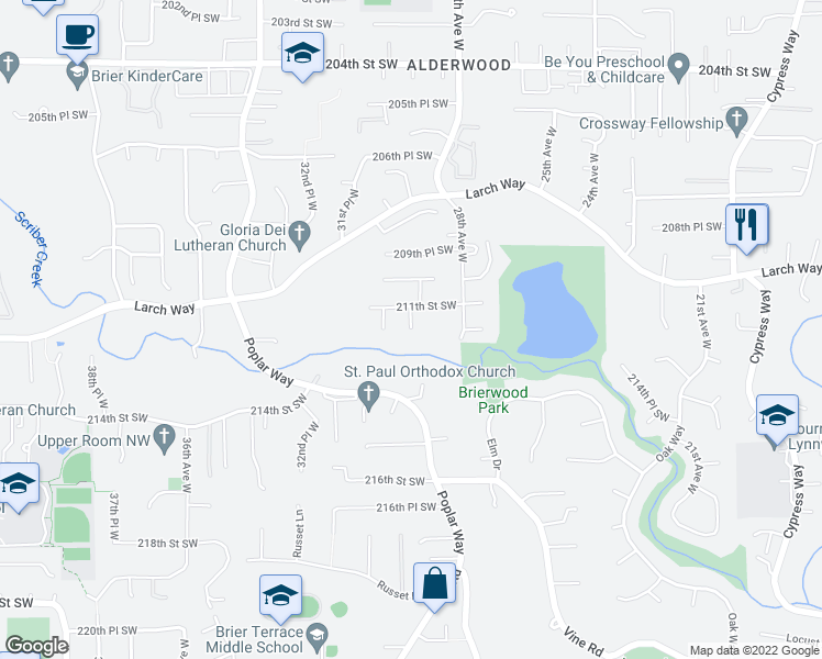 map of restaurants, bars, coffee shops, grocery stores, and more near 22502 29th Place West in Lynnwood