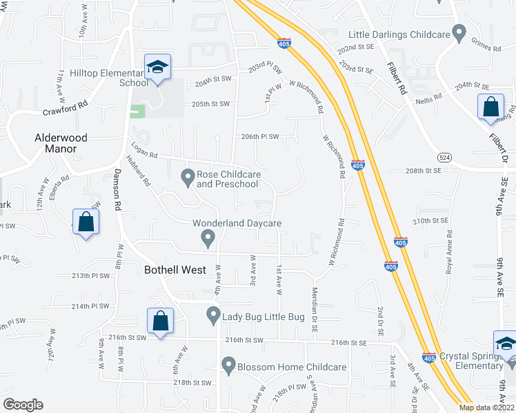 map of restaurants, bars, coffee shops, grocery stores, and more near 21104 2nd Avenue West in Lynnwood
