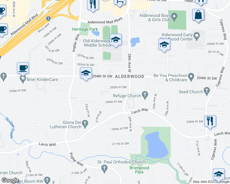 map of restaurants, bars, coffee shops, grocery stores, and more near 20607 30th Avenue West in Lynnwood