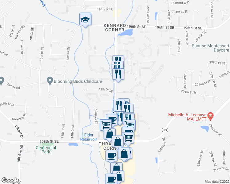 map of restaurants, bars, coffee shops, grocery stores, and more near 20230 19th Drive Southeast in Bothell