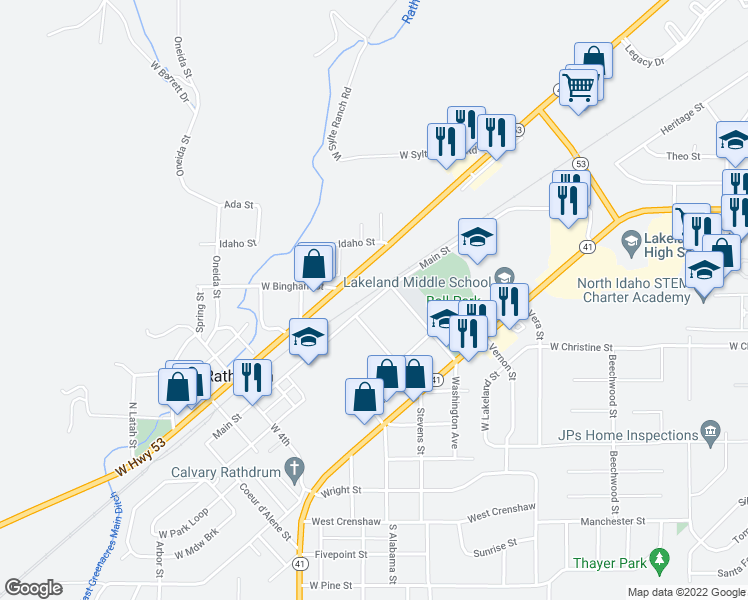 map of restaurants, bars, coffee shops, grocery stores, and more near 15598 Stevens Street in Rathdrum