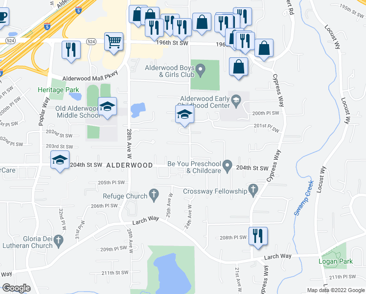 map of restaurants, bars, coffee shops, grocery stores, and more near 2412 202nd Place Southwest in Lynnwood