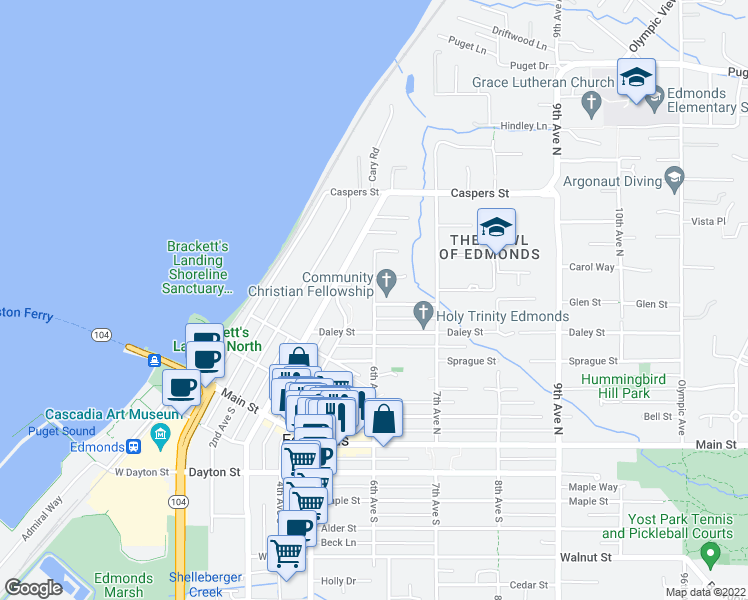 map of restaurants, bars, coffee shops, grocery stores, and more near 600 6th Avenue North in Edmonds