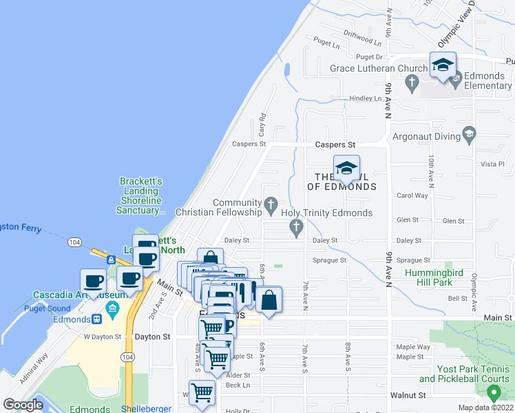 map of restaurants, bars, coffee shops, grocery stores, and more near 615 6th Avenue North in Edmonds
