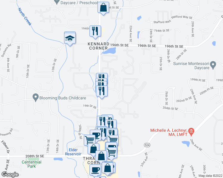 map of restaurants, bars, coffee shops, grocery stores, and more near 2115 201st Place Southeast in Bothell