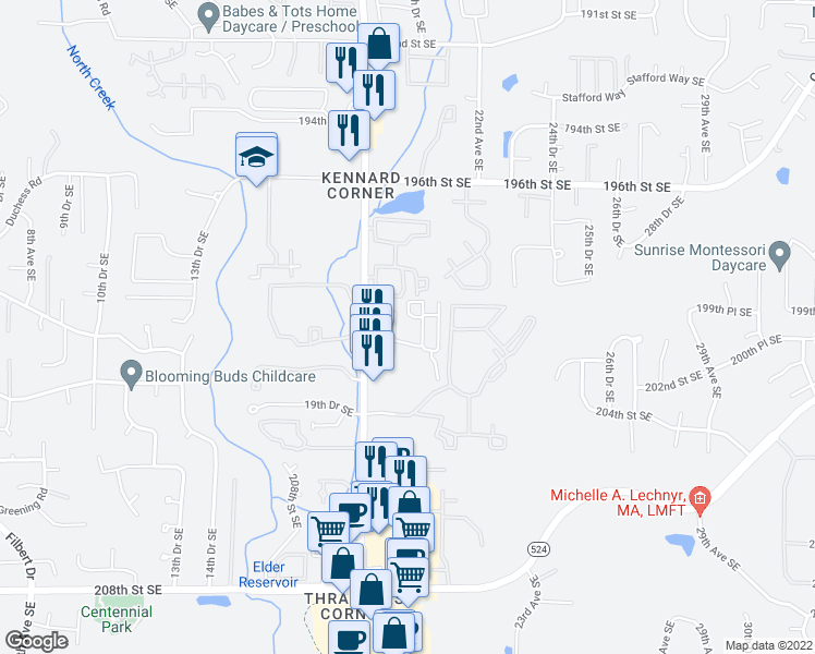 map of restaurants, bars, coffee shops, grocery stores, and more near 2021 201st Place Southeast in Bothell