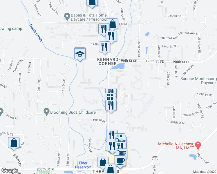 map of restaurants, bars, coffee shops, grocery stores, and more near 19928 Bothell Everett Highway in Bothell